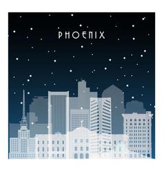 winter night in pheonix night city in flat style vector image