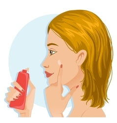 Young girl applies a base on the skin vector image