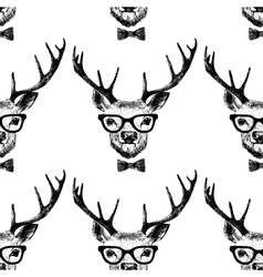 Seamless with hand drawn dressed up deer vector
