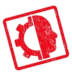 Cyborg gear icon rubber stamp vector