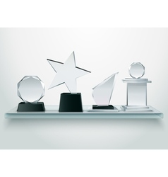 Glass trophies on shelf realistic image vector