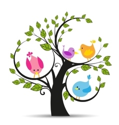 Tree with a birds vector image