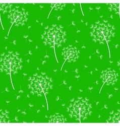 Green seamless pattern with white dandelions vector