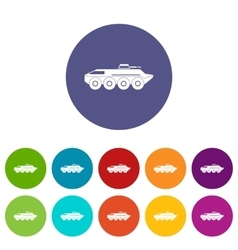 Armored personnel carrier set icons vector
