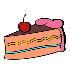 Piece of cake icon cartoon vector