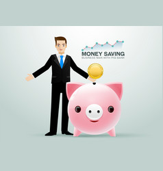 Bussiness man pig bank coin saving money vector
