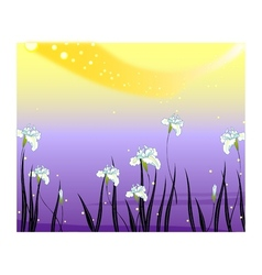 Flower fields background vector
