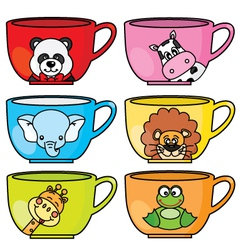 cup animals vector image