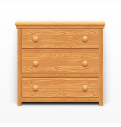 Light brown wooden chest of drawers vector