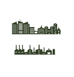 Silhouette cityscapes set with isolated white vector