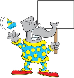 Cartoon clown elephant vector