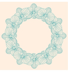 Orchid round frame vector