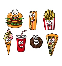 Happy colorful takeaway cartoon food vector