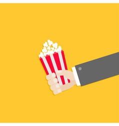 Popcorn businessman hand cinema icon in flat vector