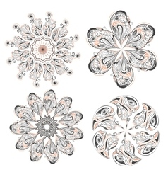 Set of circular floral ornaments patterns vector