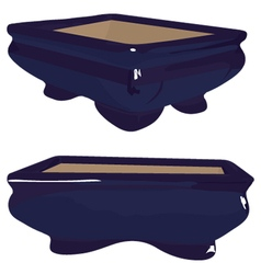 Blue bonsai saucer vector
