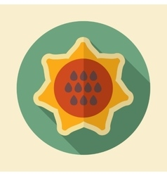 Sunflower retro flat icon with long shadow vector