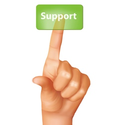 a finger pushing support button vector image