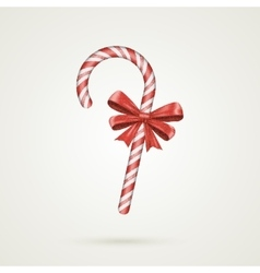Christmas candy cane with red bow isolated on vector
