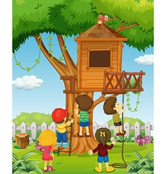 Children playing on the treehouse vector