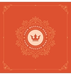 Royal logo design template flourishes vector