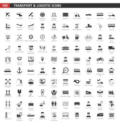 Transport and logistic black icons set vector
