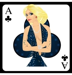 Blonde woman representing ace of clubs card vector
