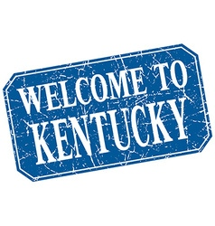 Welcome to kentucky blue square grunge stamp vector