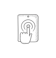 Finger touching digital tablet sketch icon vector