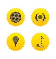 Golf ball icons laurel wreath award symbol vector