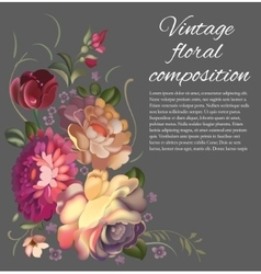 Post card with a composition of different flowers vector