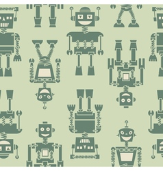 Cute retro robots silhouette background vector