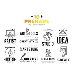 Art tools and materials for painting logo vector image vector image