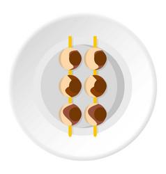 Asian shashlik icon circle vector