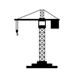 Black silhouette construction tower crane vector