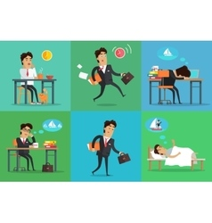 Businessman working day set vector