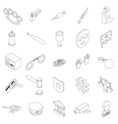 Crime icons set isometric 3d style vector image