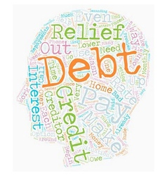 Debt relief how to get out of debt text background vector