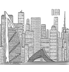 dubai black and white cityscape in line art style vector image vector image