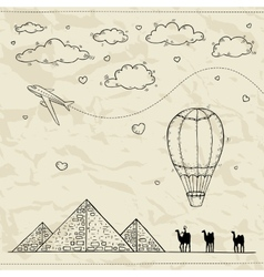 Egypt Hand drawn Travel and tourism background vector image vector image