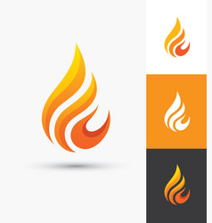 flame icon in a shape of droplet vector image