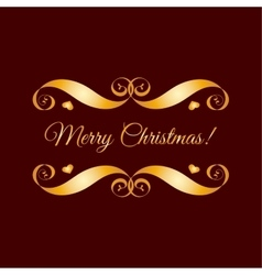 Gold merry christmas badge over brown vector