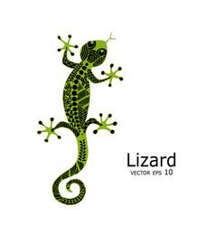green lizard sketch zenart for your design vector image