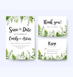 green wedding invite menu rsvp thank you card set vector image