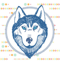 Hand-drawn portrait of a husky in a circle vector