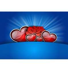 heart with rose on the blue vector image