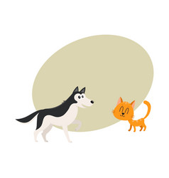 Husky dog and red cat kitten characters vector