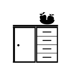 Monochrome shelf with basket fruits vector
