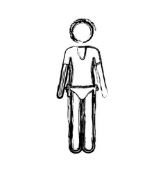 Monochrome sketch pictogram of woman in t-shirt vector