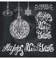 New year letteringcards typography chalk elements vector